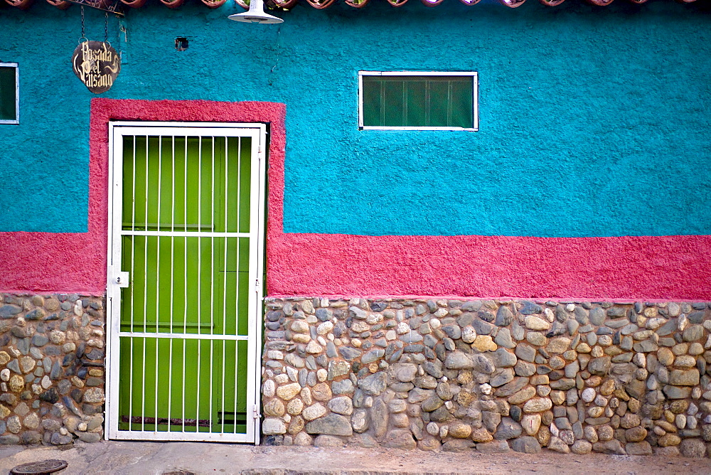 The front door of a house in Puerto Colombia, also known as Choroni, Venezuela.
