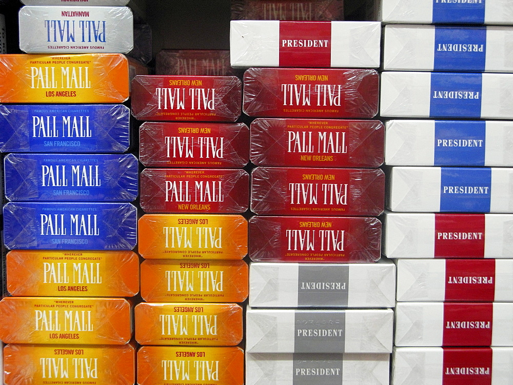 Greece, Crete. Packets of Cigarettes for sale.