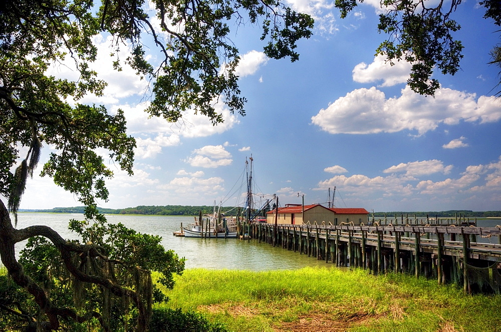 Shrimp boats are docked at the end of a pier on the Intracoastal Waterway on Hilton Head Island, SC.