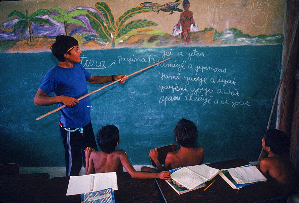 Yanomami Indian children at the Catholic mission school at Mavaca on the Upper Orinoco River. In the Amazonian Forest in southern Venezuela.