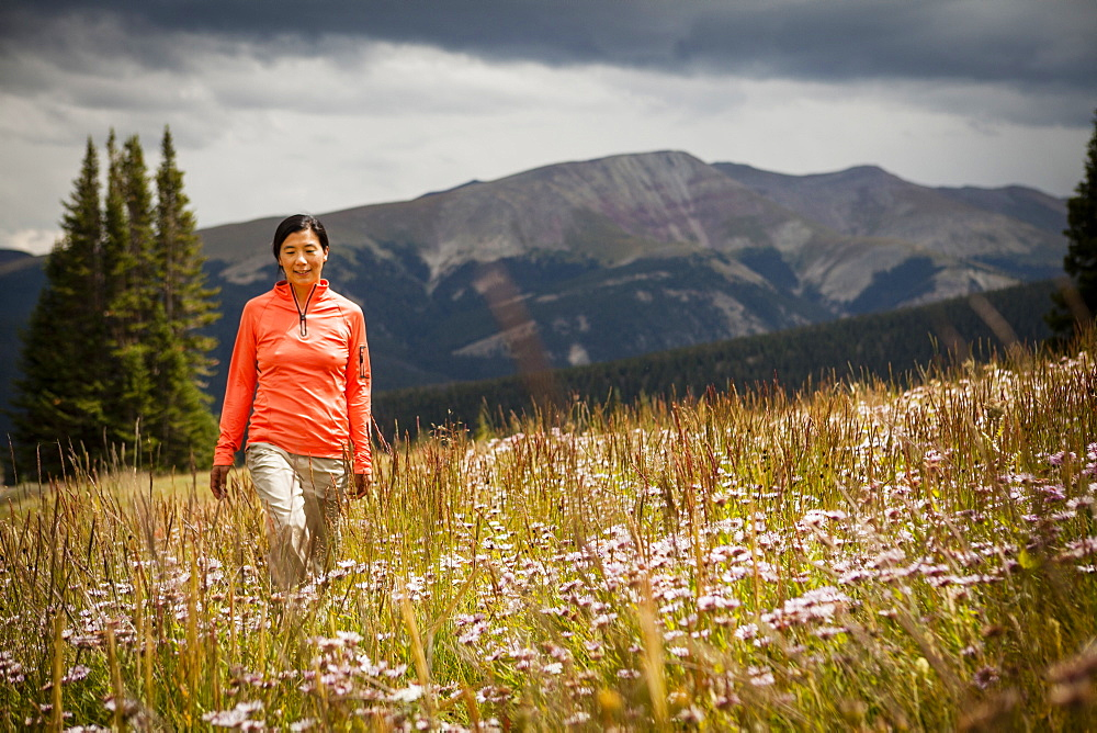 A mid-thirty year old Japanese-American women walks through a meadow of wild flowers on her way to Lower Crystal Lake, Colorado.