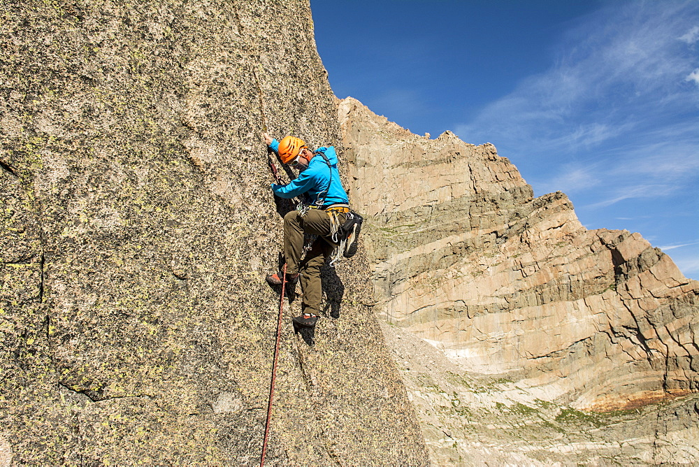 A man rock climbing the granite Flying Buttress of Mount Meeker in Rocky Mountain National Park, Estes Park, Colorado, Estes Park, Colorado, usa