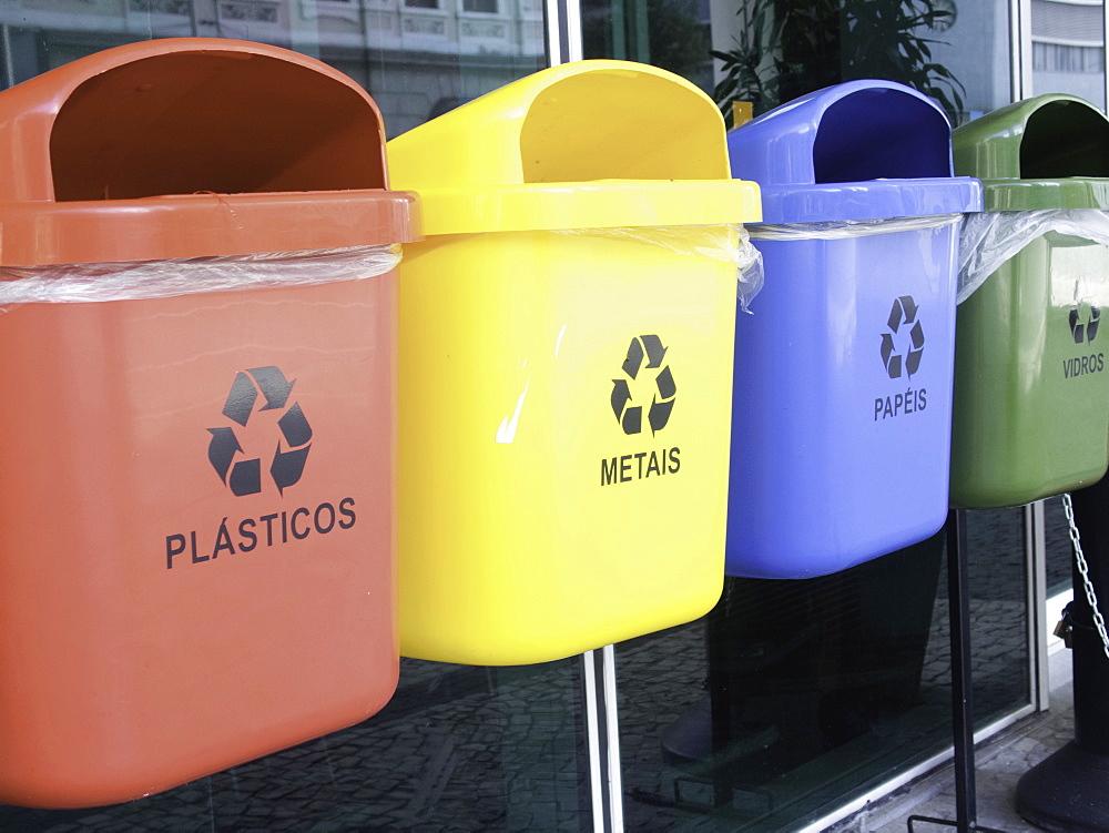 Recycling bins, Rio De Janeiro, Brazil, Rio de Janeiro, , Brazil