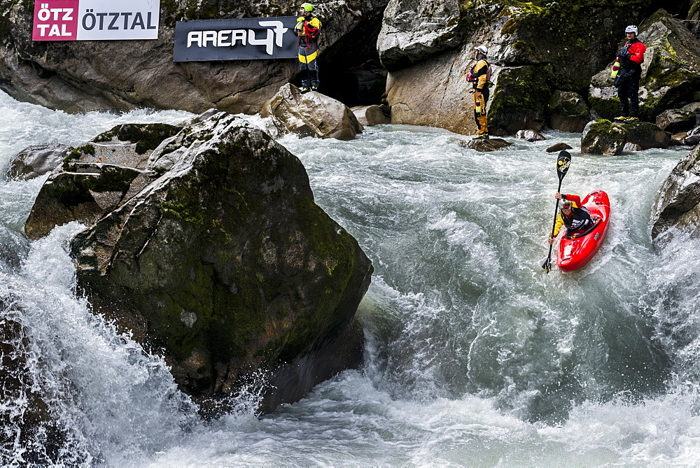 Kayaker Nicholas Troutman (CAN) riding the Ötztaler Ache-River during the Adidas Sickline Extreme Kayaking World Championship 2014 in Oetz, Austria.