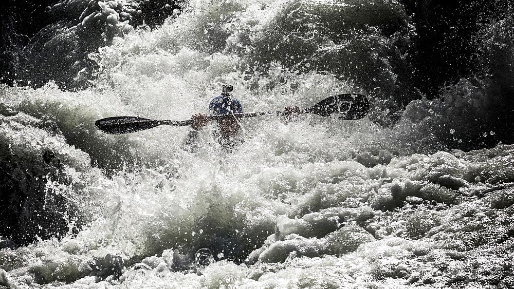 Kayaker Jamie Sutton (NZL) riding the Ötztaler Ache-River during the Adidas Sickline Extreme Kayaking World Championship 2014 in Oetz, Austria.