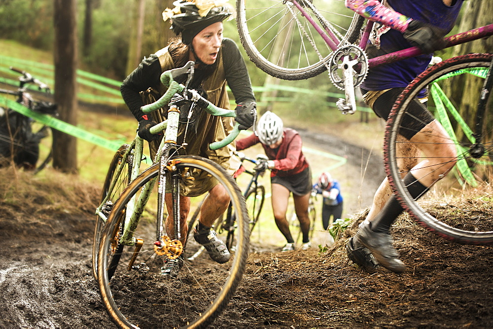 Women cyclocross racers compete in San Francisco, California