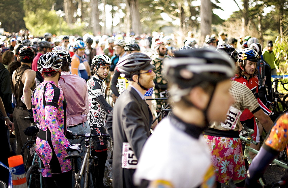 cyclocross racers wait for race start in San Francisco, California