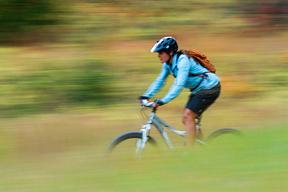 A woman mountain biker is blurred by motion while riding through autumn colors in the Rattlesnake recreation area near Missoula, Montana.