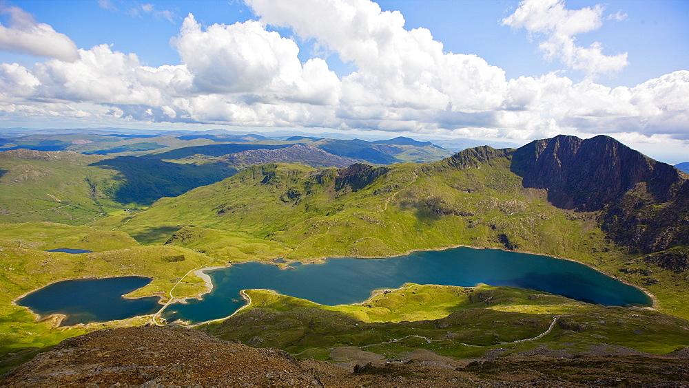 the lake Llyn Llydaw at Snowdonia national park in north Wales