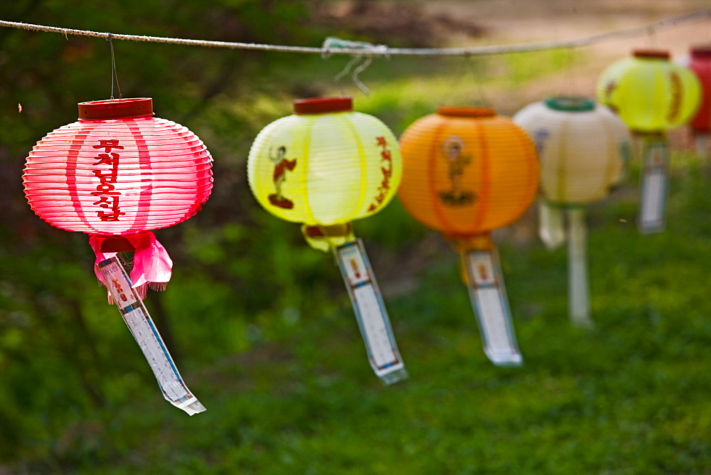 Lanterns at the temple complex at Hawsun in south Korea in the Jeonam province