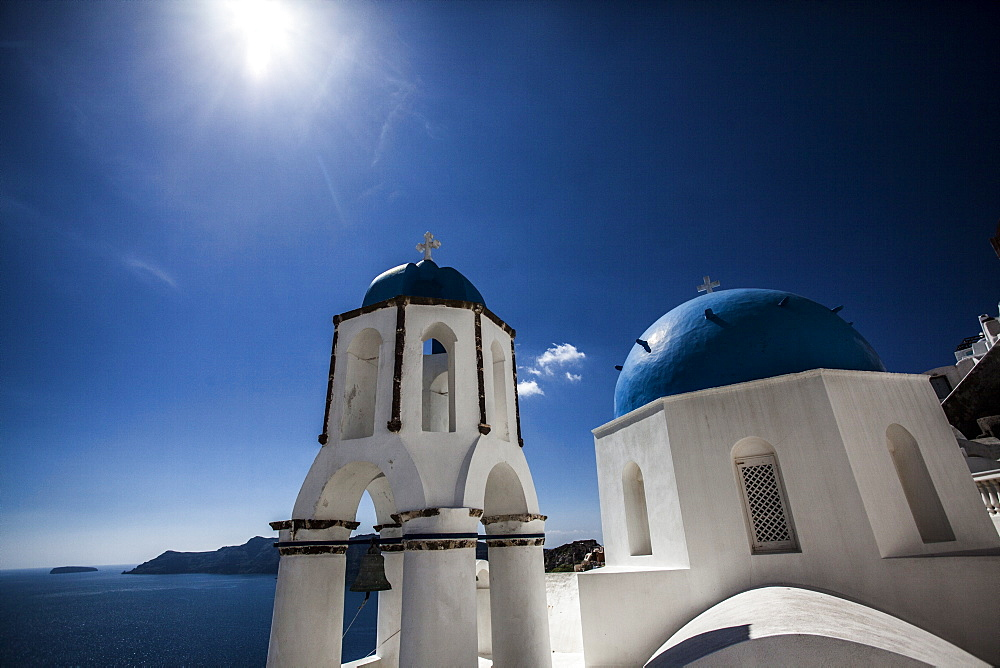 Blue domed rooftops in Santorini, Greece. - 857-87692