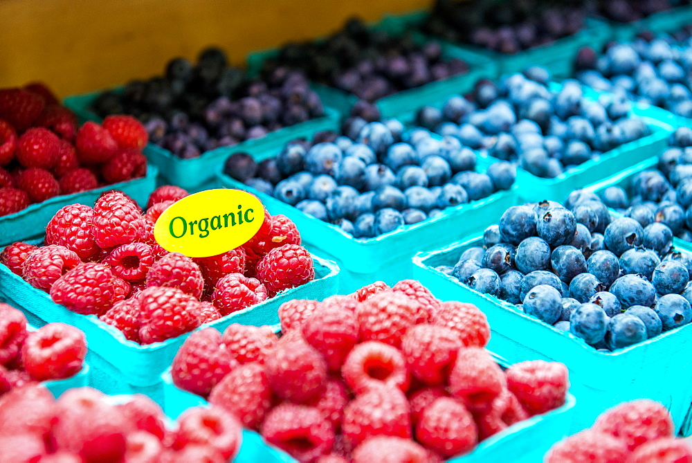 Organic Berries in baskets at a Famers Market.