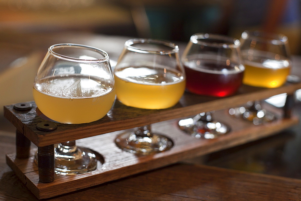 Glasses of beer poured at Allagash Brewery for tasting