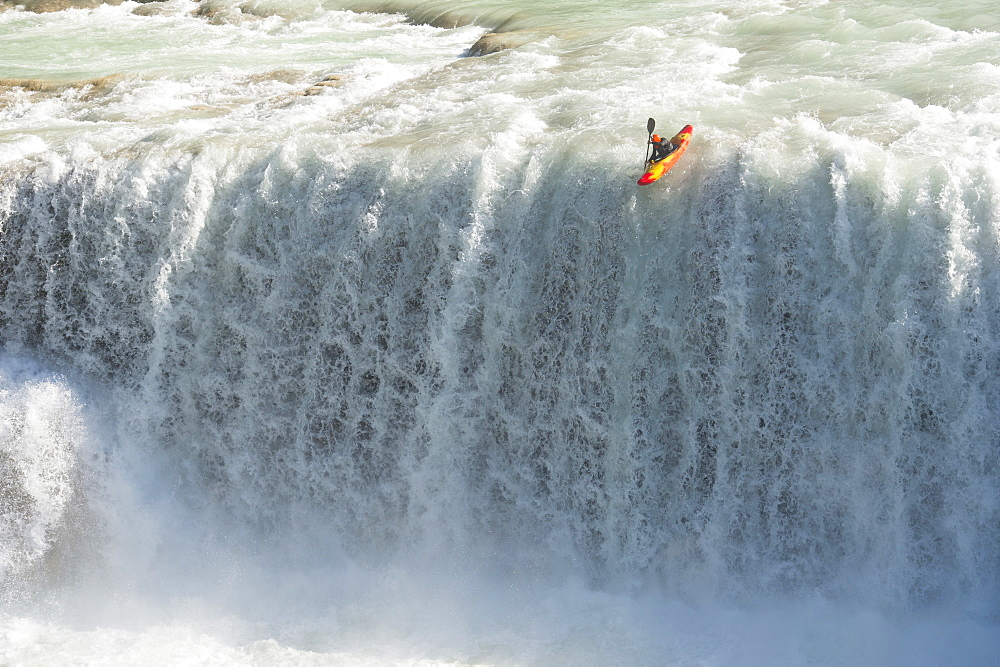 One kayaker dropping a waterfall in Cascadas de Agua Azul, Chiapas, Mexico. - 857-87981