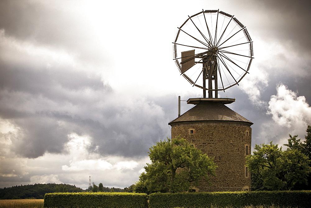 A old mill with a unique wind turbine designed by Daniel Halladay in the village Ruprechtov, near Brno, Czech Republic.
