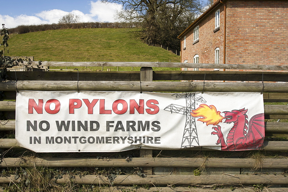 A welsh dragon on an anti wind turbine bulletin board seen in Montgomeryshire in Wales, the United Kingdom.