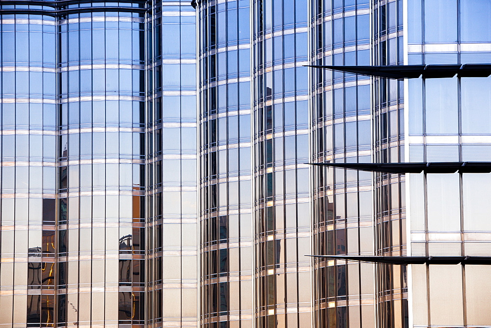Reflections in the Burj Khalifa, the worlds tallest building. Dubai, United Arab Emirates