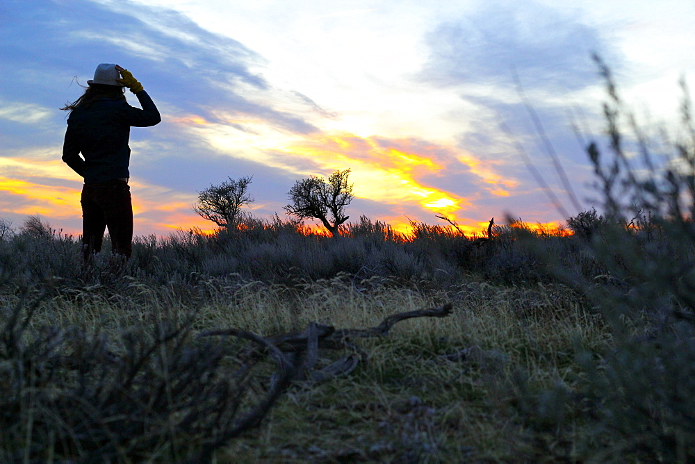 Woman watches the sunset during a windy evening in rural Idaho.