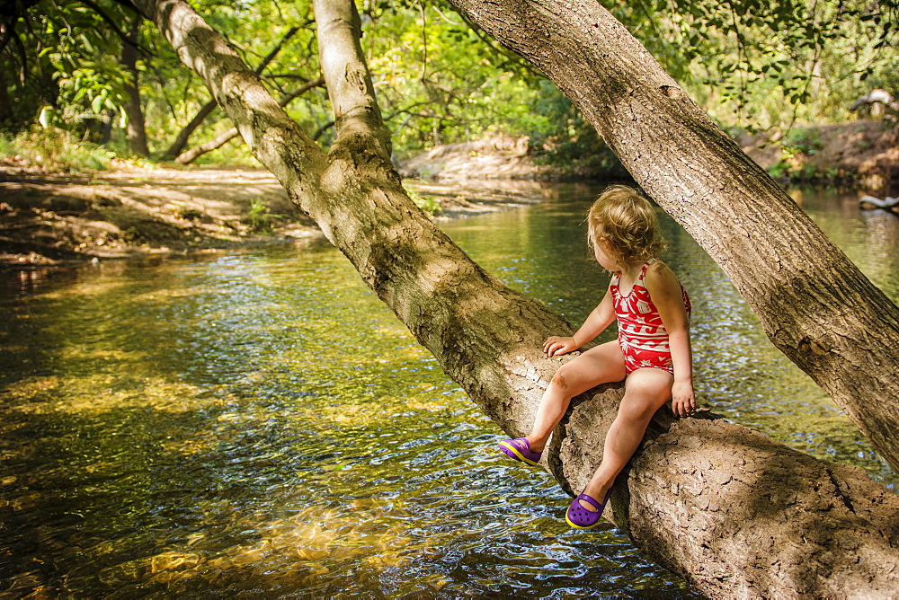 Before swimming, toddler girl rests on tree that branches over creek in Bidwell Park, Chico, California.