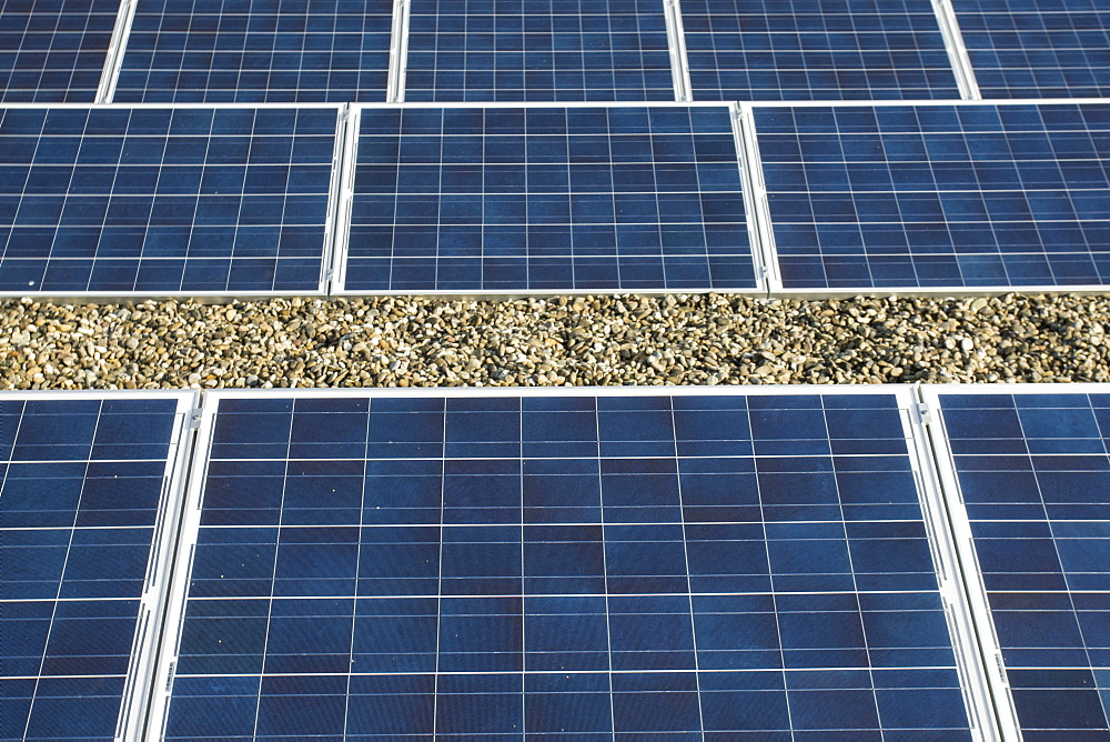 Solar panels on the roof of a school in the town of Zwolle, the Netherlands.