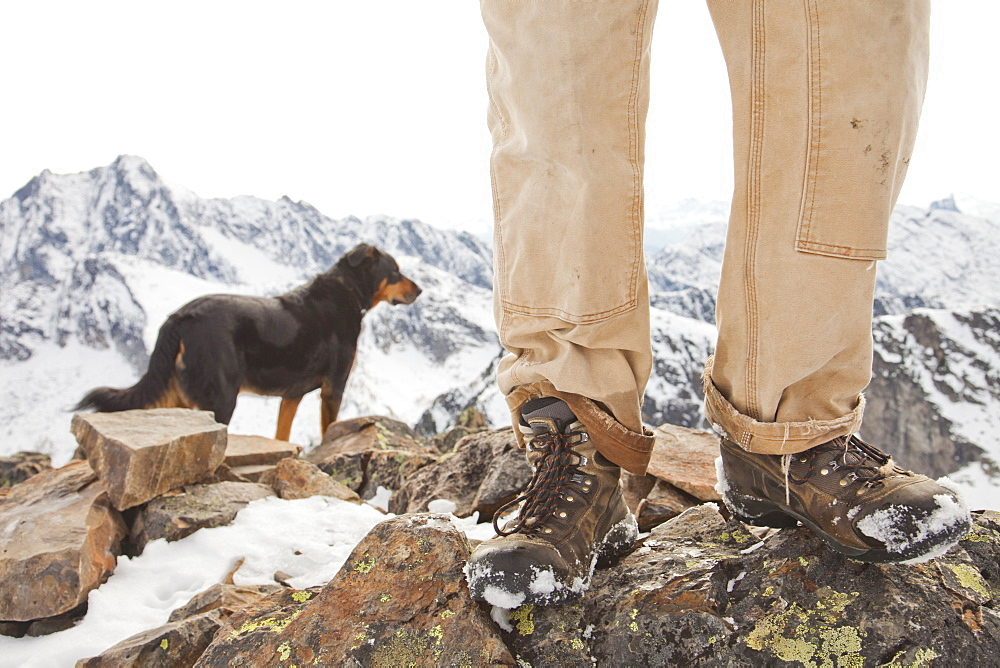 A dog and the legs and boots of hiker on the summit of Frosty Mountain, British Columbia, Canada.