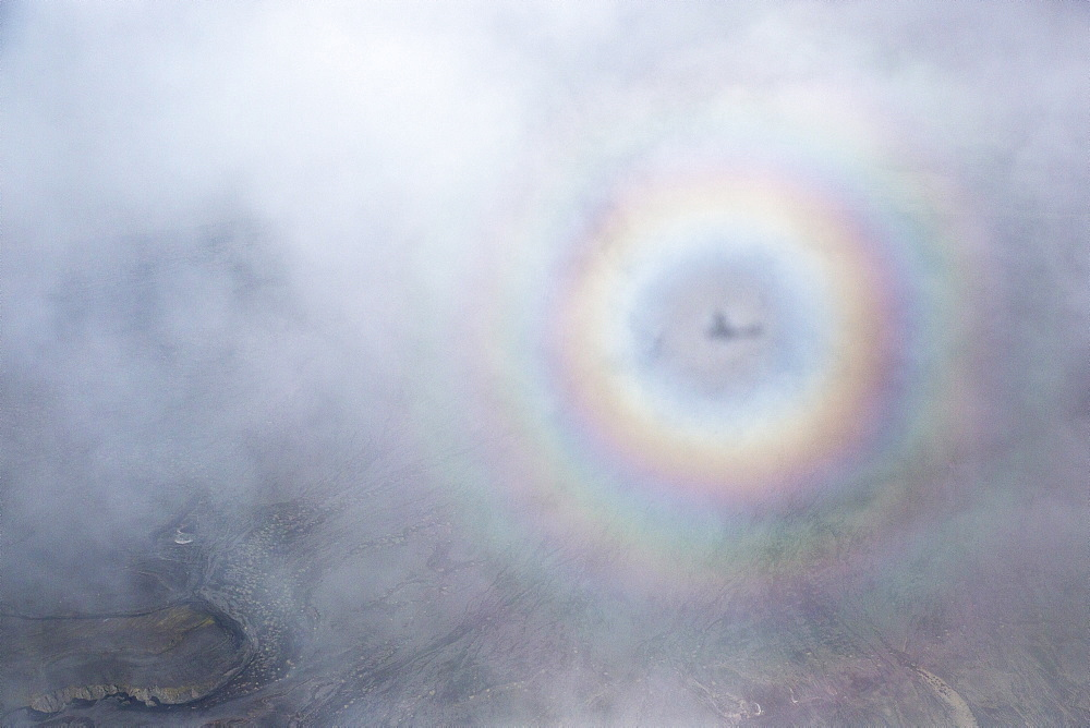 A view of a broken spectre while flying above Iceland.