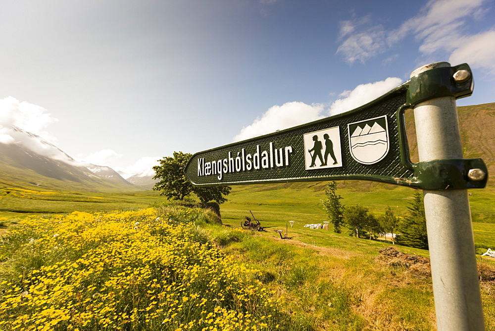 A sign showing a path for hikers in the valley Skidadalur, north Iceland.