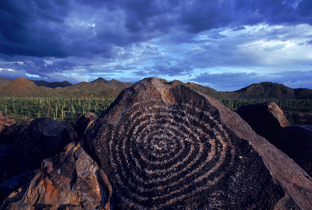 Hohokam petroglyph in the Saguaro National Monument, Arizona,
