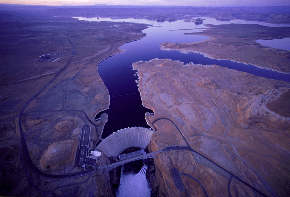 An aerial view of a dam and a lake, Arizona, USA, United States
