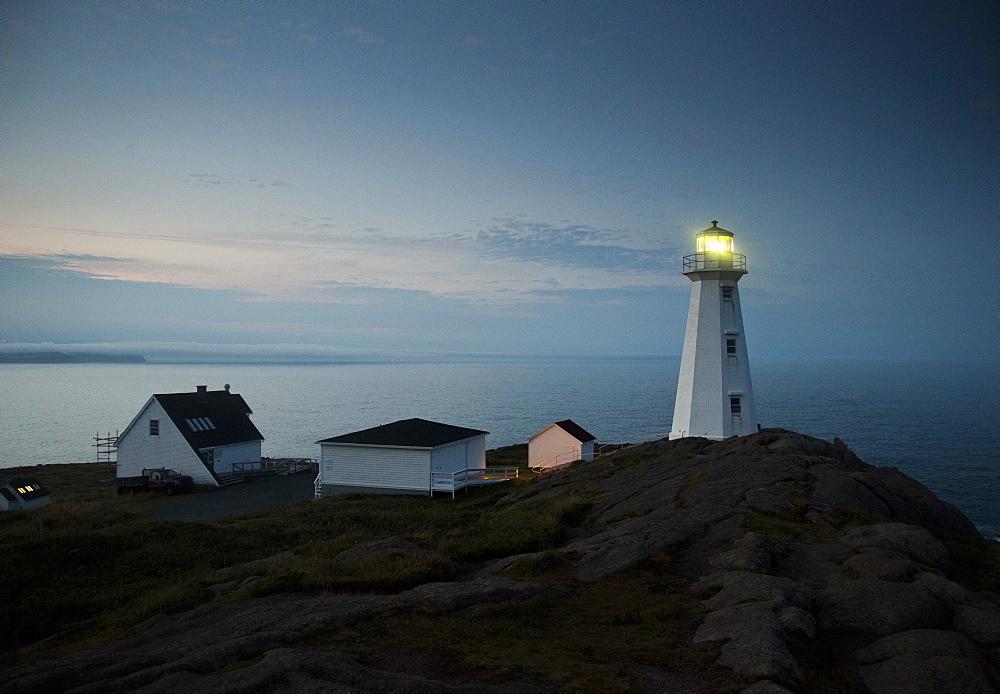 The coastline and a lighthouse from Cape Spear near St, Johns, Newfoundland, Canada