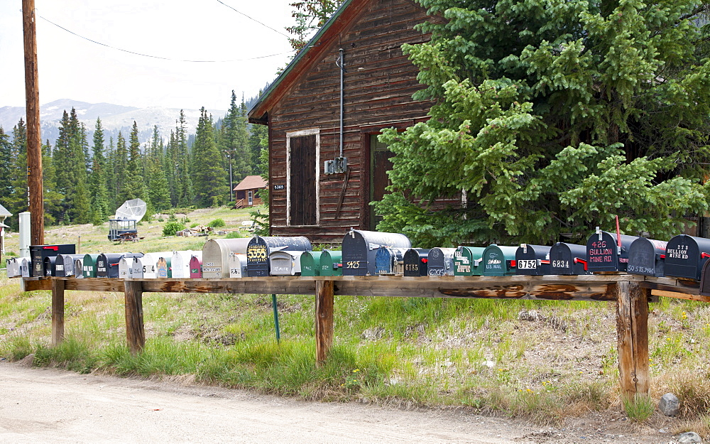 Summit County, Colorado: The almost ghost town of Montezuma shows signs of life via a string of mailboxes.