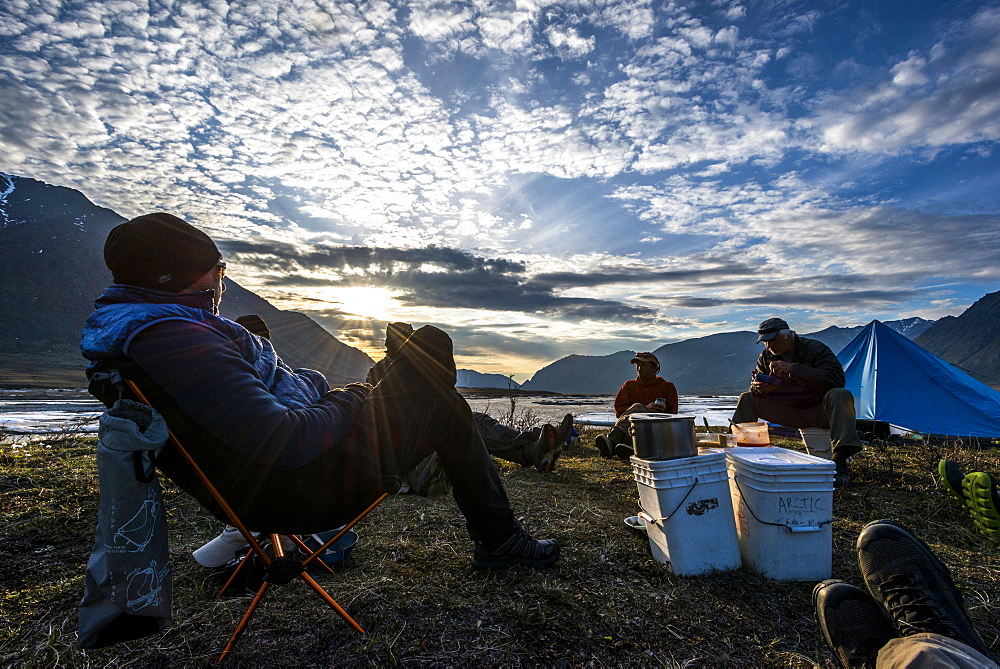 In camp enjoying sunset along the Marsh Fork of the Canning River, AK