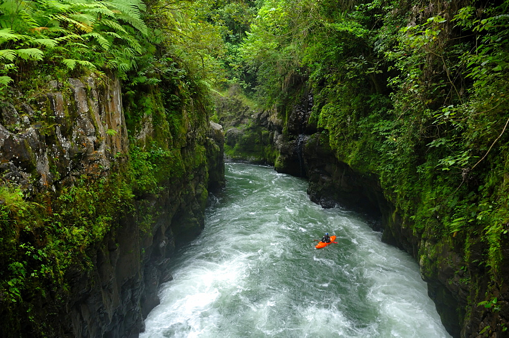 A man kayaks on the Alseseca River in the Veracruz region of Mexico, United States of America