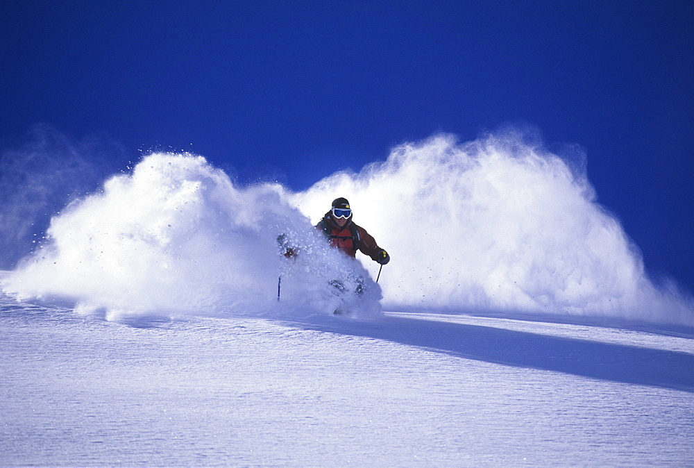Chris Davenport skiing powder at Snowmass, Colorado, United States of America