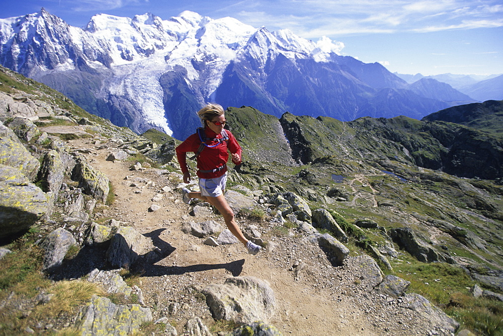Barbara Zwerger running at the Brevent, France, France