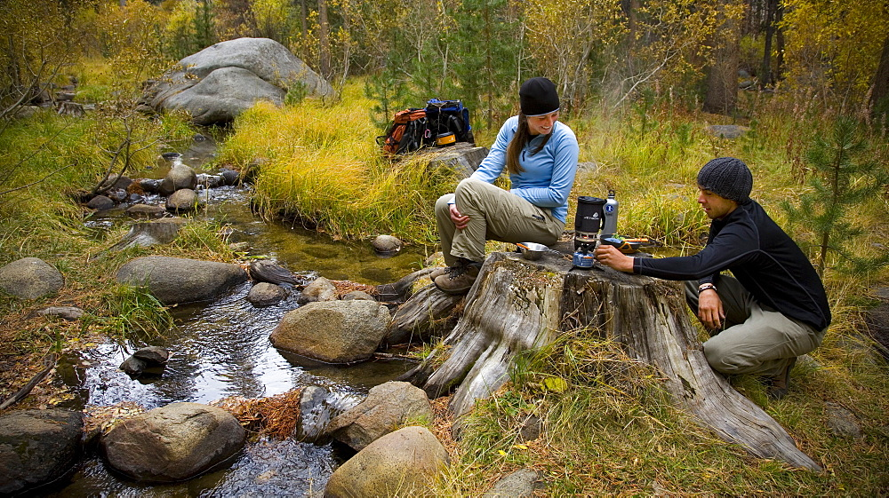 Backpackers cook lunch near a stream. Photo by Thomas Kranzle, United States of America