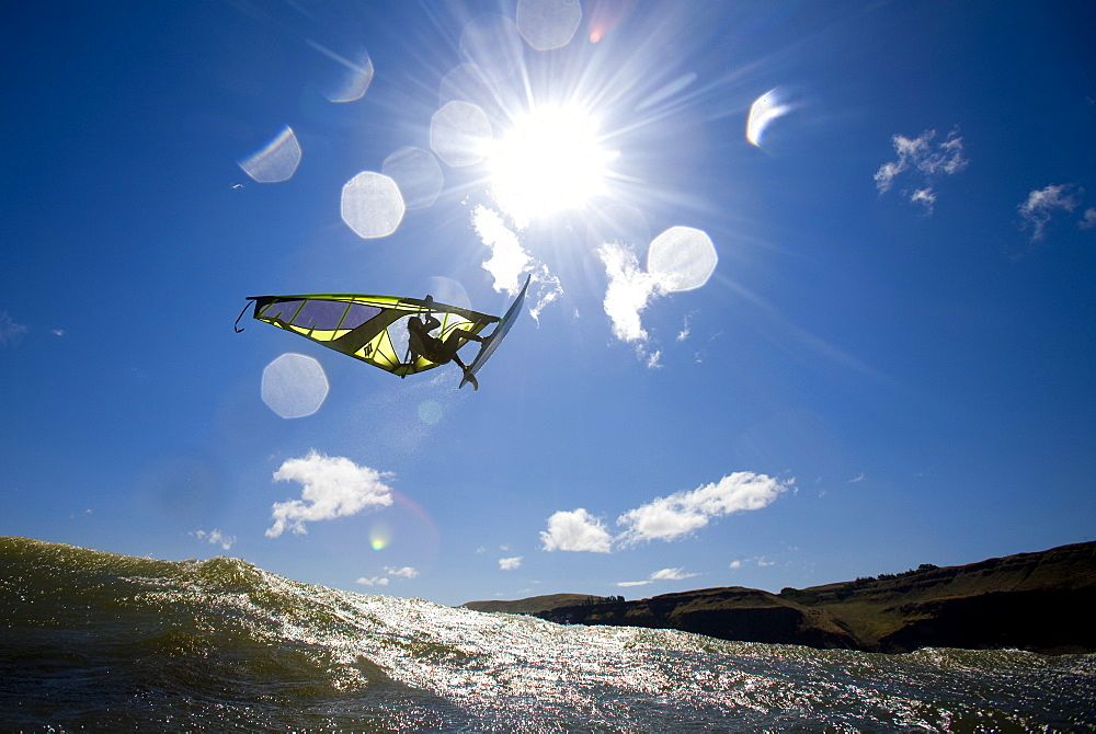 A Windsurfer catches air at The Wall - where winds exceeded 40 mph, United States of America