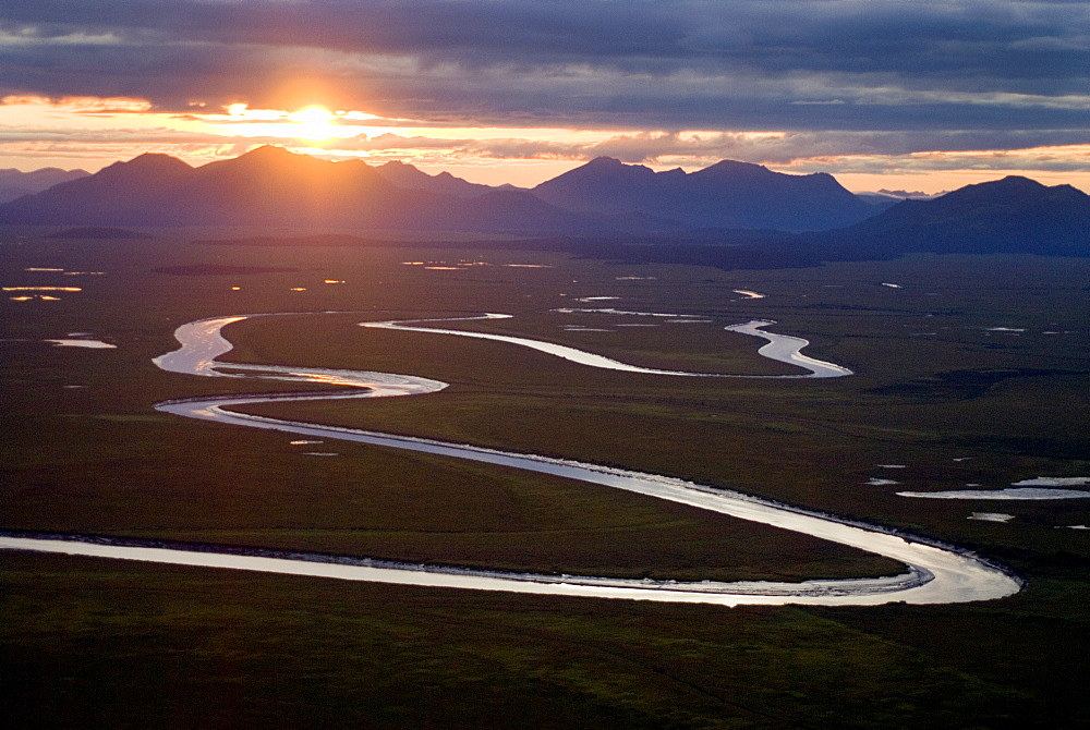 August 28, 2008 Flying from Dillingham AK to upper Nushagak villages along the Nushagak River. The Snake and the Nushagak and other rivers would be effected if the Pebble mine is approved, United States of America