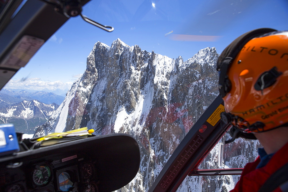 The northface of the Grandes Jorasses, a famous peak in the Alps near Chamonix, as seen from a rescue helicopter.