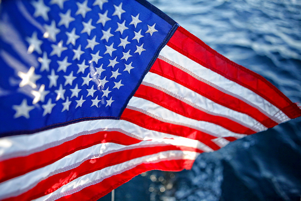 """American flag """"Stars and Stripes"""" floating onboard the Hydroptere, Long Beach, Los Angeles, United States of America. - 857-91216"""