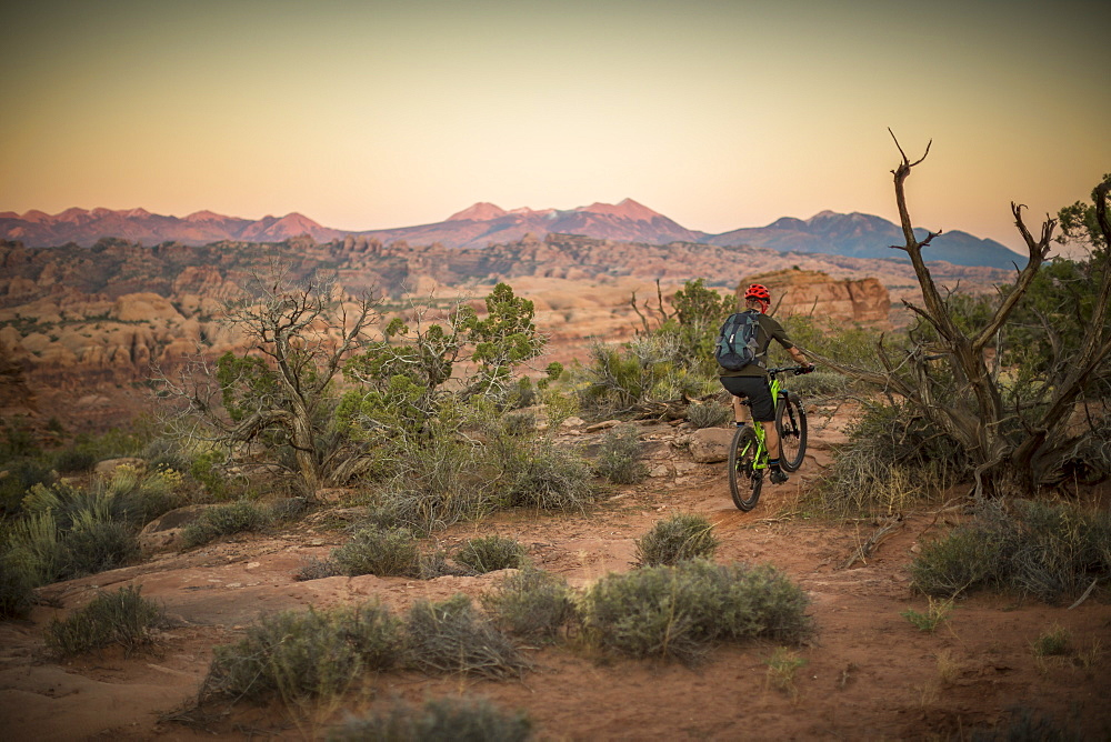 Man mountain biking on a trail in a desert environment at sunset.
