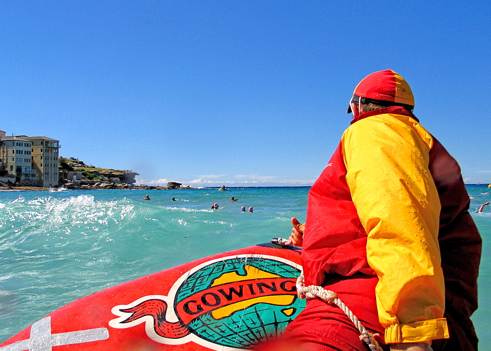 Life Guard on duty at Bondi Beach. - 857-91564