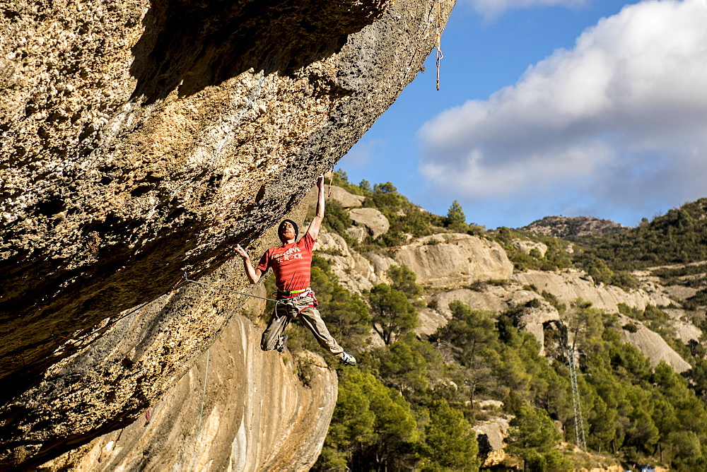 Professional climber Gabriele Moroni during an attempt to Demencia Senil, 9a+. Margalef, Spain.