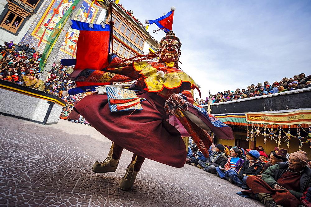 Buddist ritual dance during Spitok Gustor ceremony in Spitok Monastery, Ladakh, India.