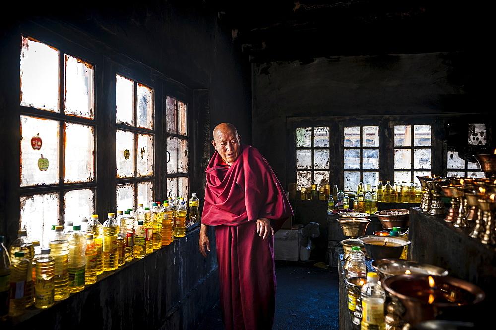 A monk in Hemis monastery, Ladakh, India.