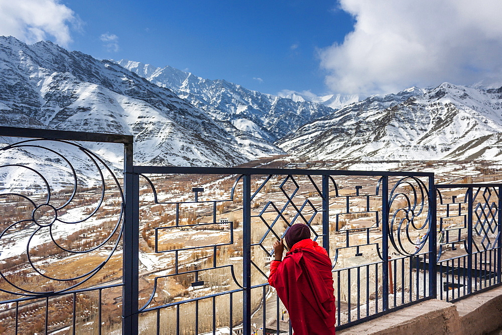 A young monk during Matho Nagrang festival in Matho monastery, Ladakh, India.