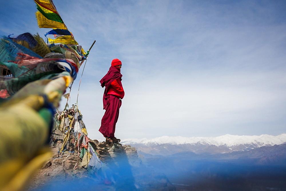 A monk during Matho Nagrang festival in Matho monastery, Ladakh, India.