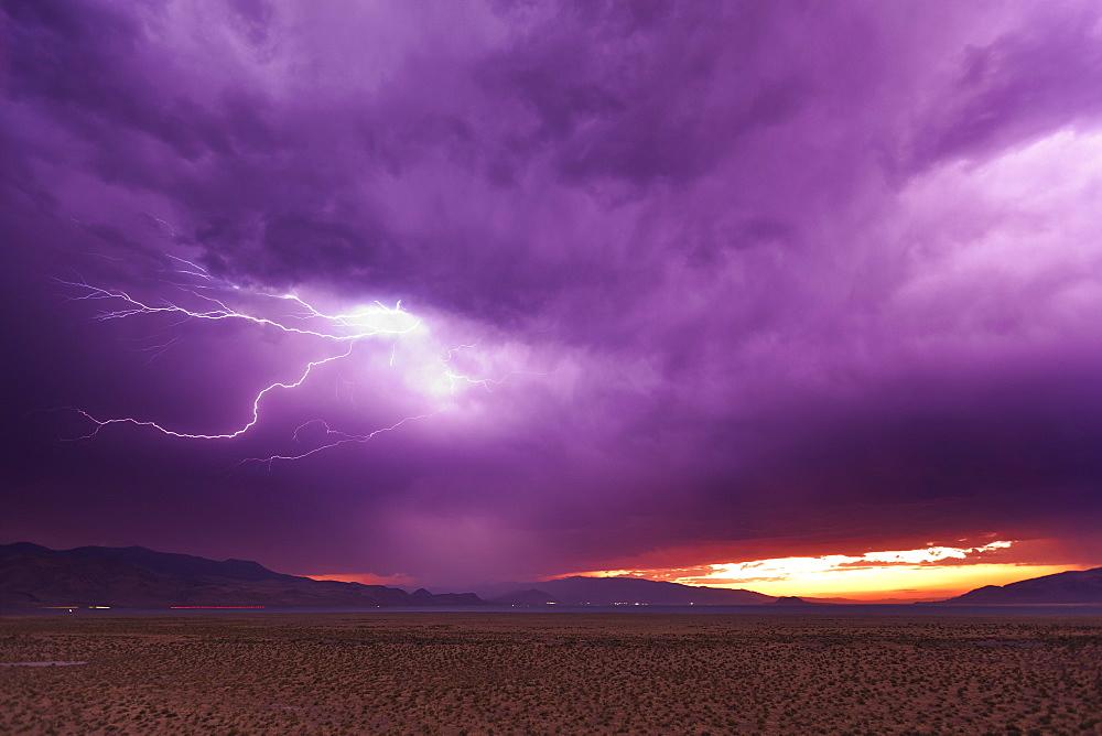 Lightning storm at dusk over Pyramid Lake, Nevada