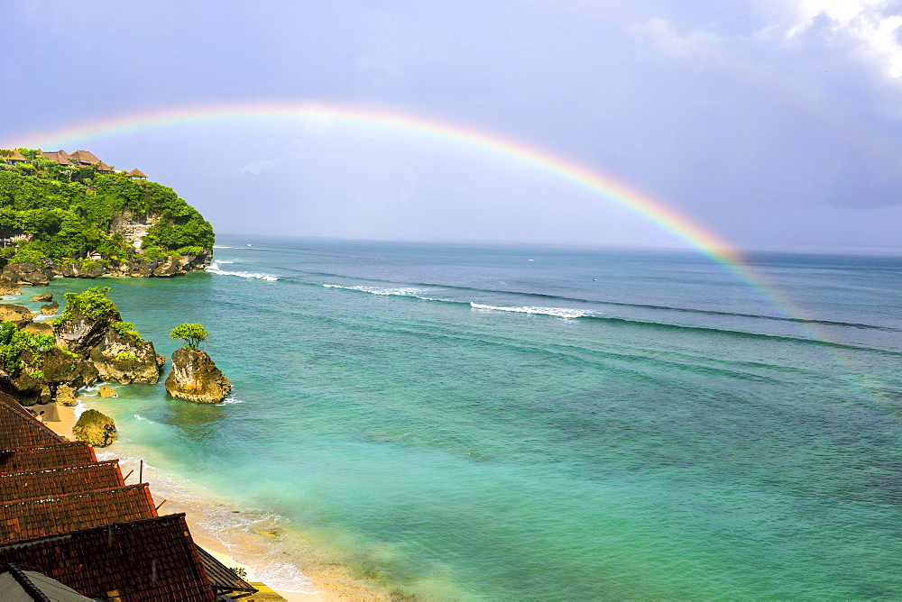 Rainbow over ocean,Bingin beach,Bali,Indonesia. - 857-91792