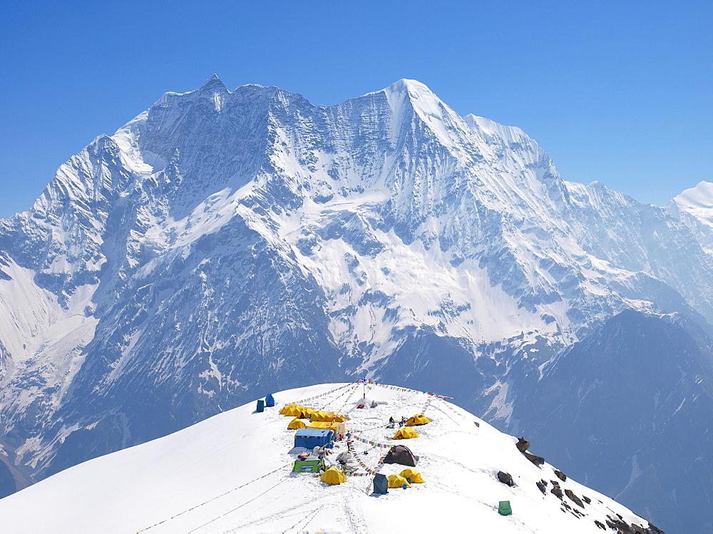 Manaslu mountaineering expedition 2008, Nepal Himalayas: Basecamp of the Manaslu at 4900 meter altitude.